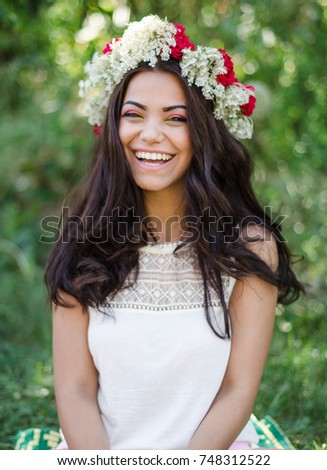 2f2f2d5082 Pretty Girl Wearing Flower Crown Stock Photo (Edit Now) 748312522 ...