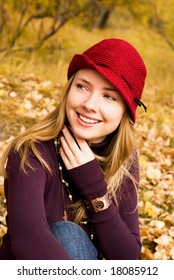 pretty girl wearing a red hat