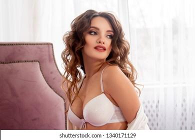 pretty girl in white bra