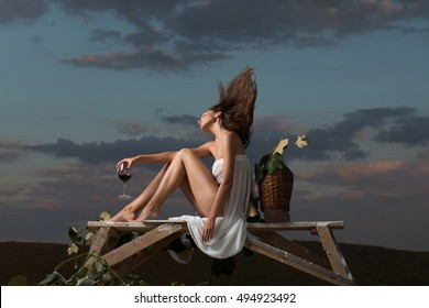 pretty girl in white sexy dress denuded gorgeous body with red wine glass wicker bottle and vine on evening nature over dramatic sky