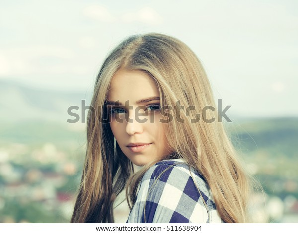 Pretty Girl Young Beautiful Woman Blue Stock Photo Edit Now 511638904