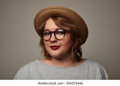 pretty happy plus size woman