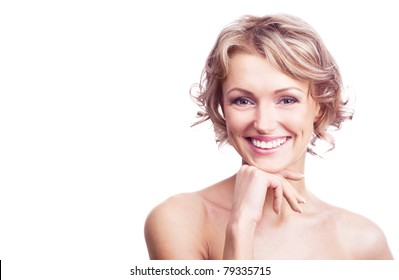 pretty happy young  woman with curly hair, isolated against white, a lot of copy space for your text to the left