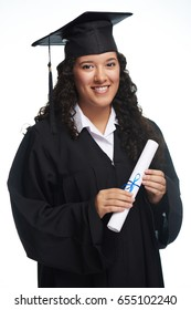 Pretty hispanic graduated girl isolated on white background
