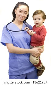 Pretty Hispanic nurse and young child isolated on white