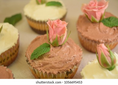 Pretty homemade cupcakes with fresh roses as decoration and green leafs on chocolate icing