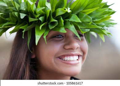 Pretty Hula Girl wearing a handmade Polynesian head piece