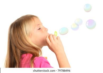 Pretty Kid Blowing Bubbles