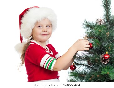 pretty kid girl decorating Christmas tree isolated on white