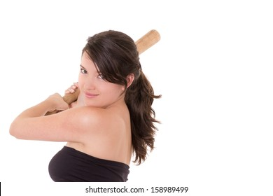 Pretty lady with a baseball bat, isolated on white background