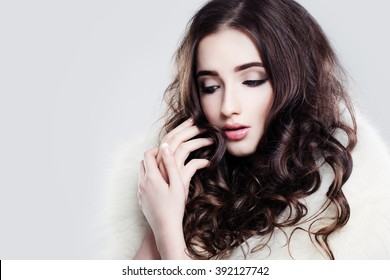 Pretty Lady. Makeup and Curly Hair