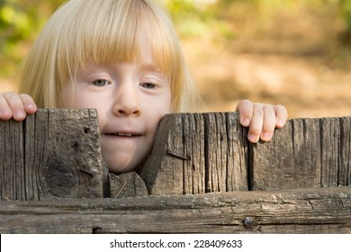 Pretty little blond girl peering over an old rustic wooden fence with a thoughtful expression