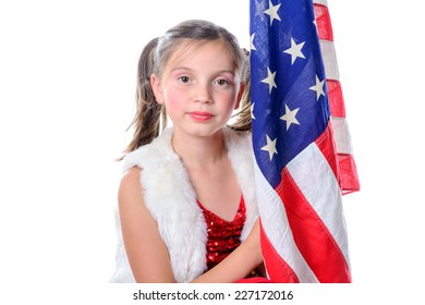 a pretty little girl with a american flag on the white background