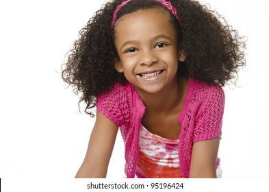 Pretty little girl with cute smiling happy expression