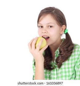 pretty little girl eating apple