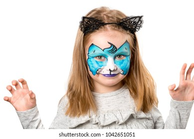 Pretty little girl with facepainting