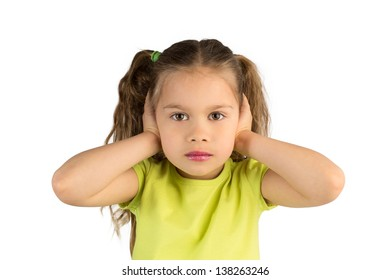 Pretty Little Girl in Green T-Shirt Covering Her Ears, Isolated