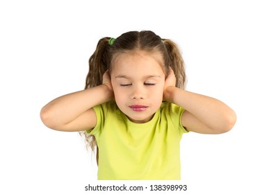Pretty Little Girl in Green T-Shirt Covering Her Ears with Her Eyes Closed, Isolated
