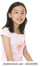 Pretty little girl isolated white background