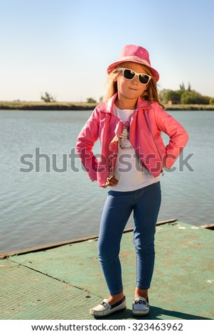 ff7ee1b681b Pretty Little Girl Pink Leather Jacket Stock Photo (Edit Now ...