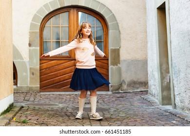 77b2d6c6b Happy Little Girl Dancing On Street Stock Photo (Edit Now) 634936106 ...