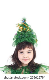 pretty little girl posing in the costume of the newyear tree