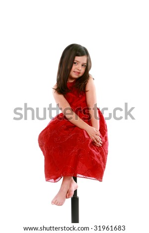 fe2a6cfc05322 Pretty Little Girl Red Dress On Stock Photo (Edit Now) 31961683 ...