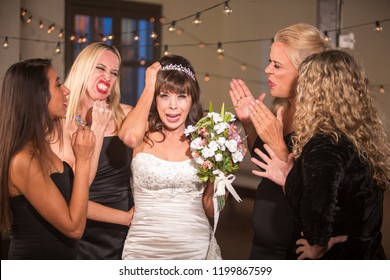 Pretty mature bride overwhelmed by meddling friends