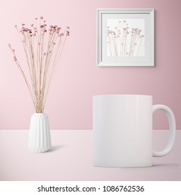Pretty Mug Mockup set against a pink background with a vase of flowers. Great for overlaying your custom quotes and designs for selling mugs.