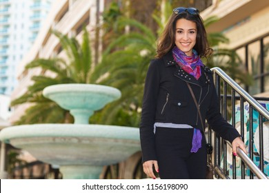 Pretty multicultural young lady outdoor portrait.