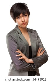 Pretty Multiethnic Young Adult Poses for a Portrait Isolated on a White Background.