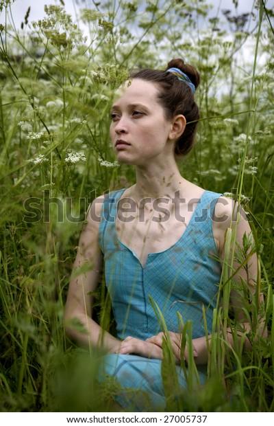Pretty nice girl in the grass