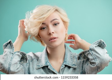 pretty nice glamour girl in trendy jacket. close up photo.teens and people concept