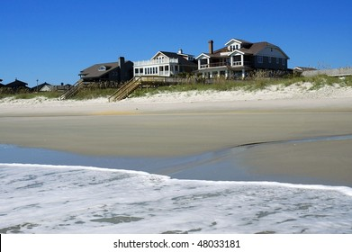 Pretty oceanfront beach rentals as viewed from surf