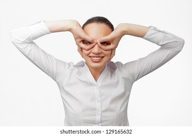 Pretty office woman on white background showing googles