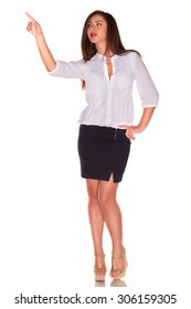 Pretty office woman in white shirt isolate on white background