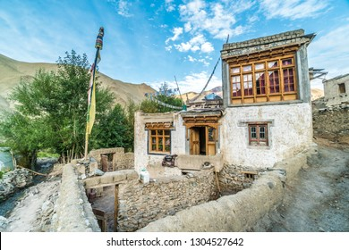 Pretty old house in remote village in Ladakh region in India.