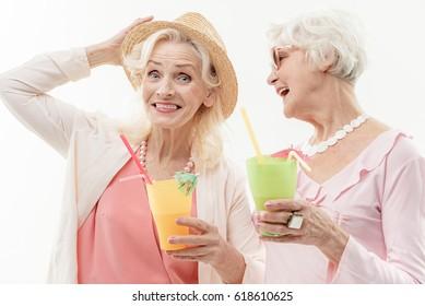 Pretty old ladies enjoying vacation