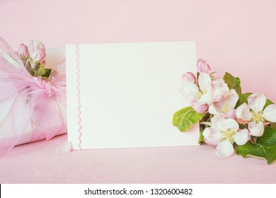 Pretty Pastel Pink Banner with Blank card and fresh spring apple blossoms with wrapped gift for Mothers Day, birthday or girl Baby Shower