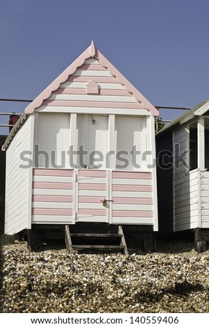 Pretty Pink Candy Stripe Beach Hut Stock Photo Edit Now 140559406