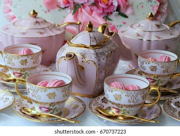Pretty pink and gold vintage teapot and teacups - tea party