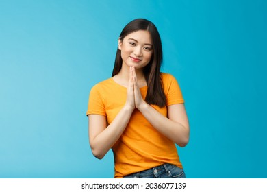 Pretty please girl asking politely. Cute charming asian woman smiling tenderly, hold hands pray grinning begging for favour, plead, look thankful for help stand blue background joyful, caring