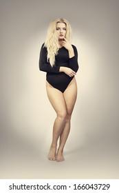 Pretty plus size model in black body