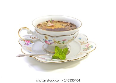 Pretty porcelain cup of tea, High tea