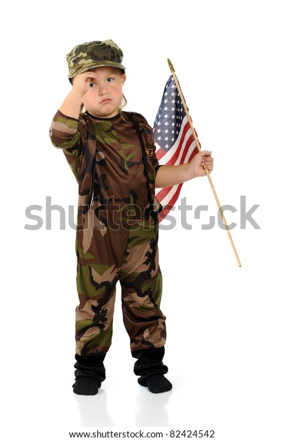 Pretty Preschool Soldier Army Camouflage Saluting Stock Photo (Edit