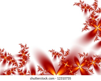 A pretty red and gold fractal border on a white background.
