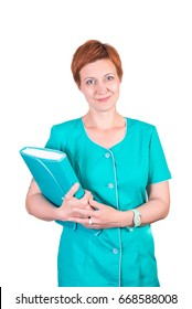 Pretty red-hair smiling woman nurse, cosmetologist, doctor, with folder in her hands, isolated on white background.