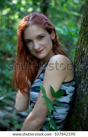 Redhead in camoflauge