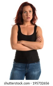 Pretty redheaded woman in a black tank top