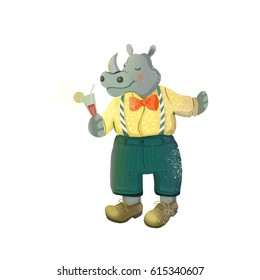 Pretty Rhino with a cocktail. Character illustration